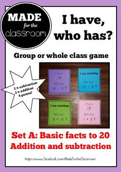 I have, who has? - Group or whole class basic facts game (x4)