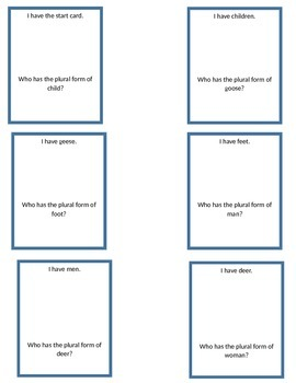 I have, who has? Irregular Plural Nouns Game