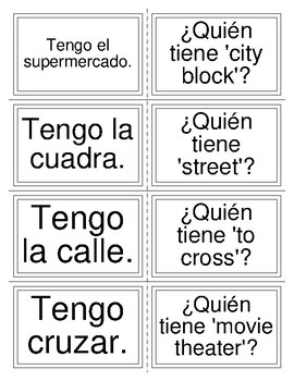 I have/who has: Locations in Spanish