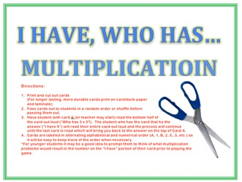 I Have, Who Has: Multiplication