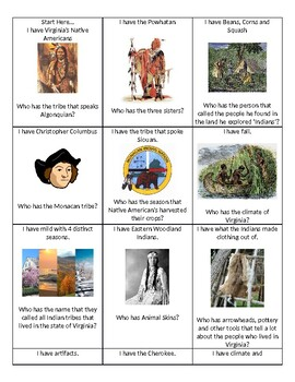 I have, who has? Native American card game