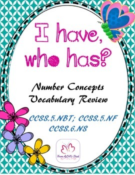 I have, who has?   Number Concepts Vocabulary