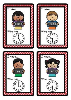 I have, who has? O'clock and half past analogue and digital times