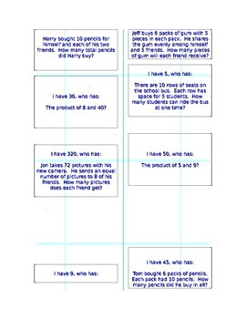 I have, who has: Problem Solving, third grade Common Core