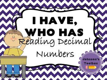 """I have, who has"" Reading Decimals"