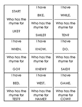 I have, who has? Rhyming