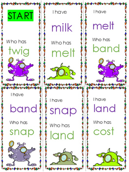 I have. . .who has? Short vowel words with blends