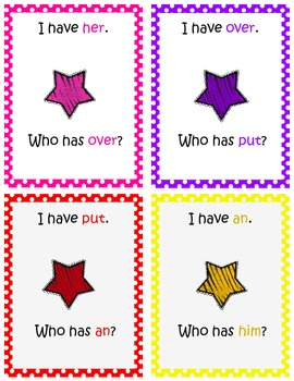 I have, who has Sight Word game set 1