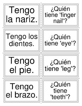 I have/who has: Spanish body part vocabulary