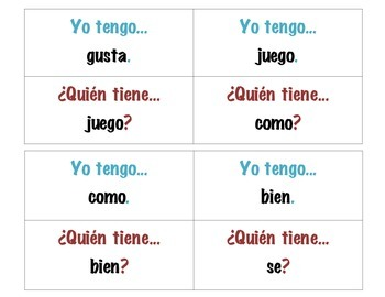 I have, who has Spanish vocabulary game