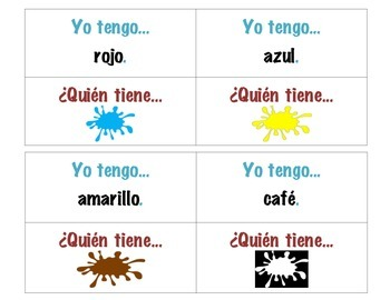 I have, who has Spanish vocabulary game- colors, days and months
