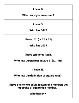 """I have, who has..."" Square roots and perfect squares"