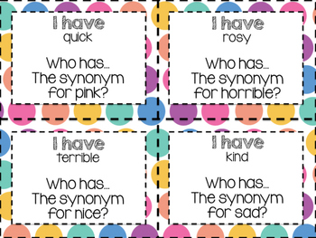 I have, who has? Synonyms