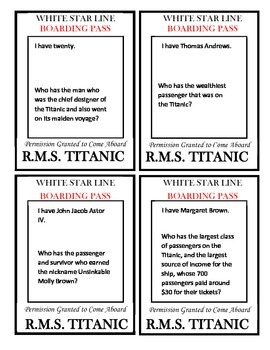 I have, who has? Titanic Game