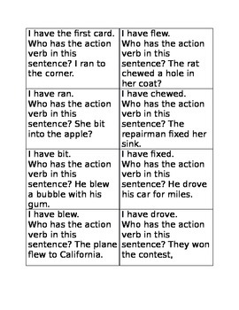 I have who has action verbs