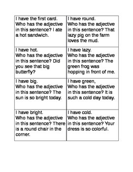 I have who has adjectives game A