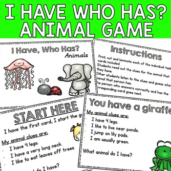 I Have, Who Has? Animal Game