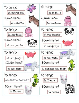 I have, who has?-animals in spanish