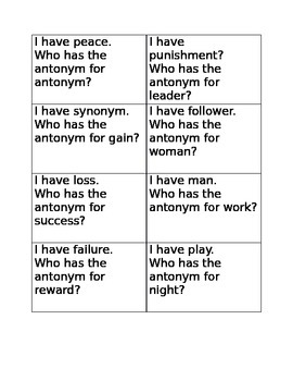 I have who has antonyms game A