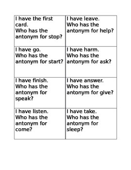 I have who has antonyms game B