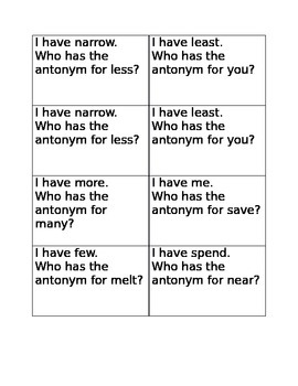 I have who has antonyms game D