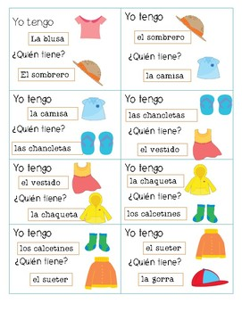 I have, who has? clothes in spanish