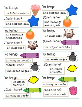 I have, who has? colors in Spanish