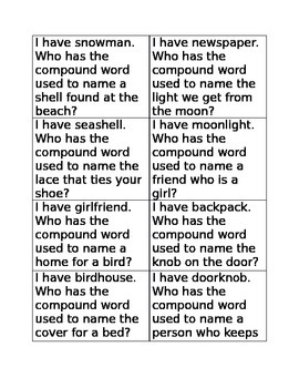 I have who has compound words game A