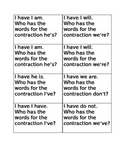 I have who has contraction words game A