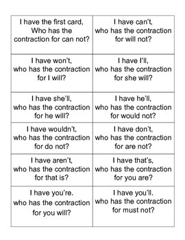 I have who has contractions