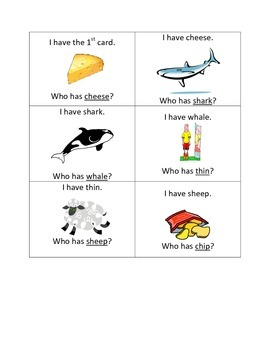I have, who has - digraphs th, sh, ch, wh
