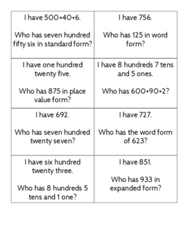 I have who has expanded form, place value form, word form and standard form