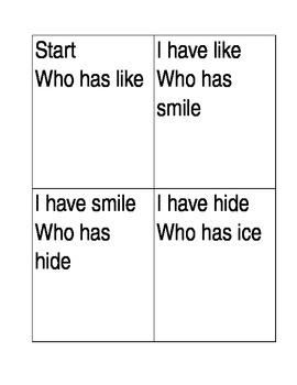 I have who has flashcards i consonant e
