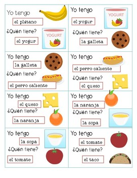 I have, who has? food in spanish
