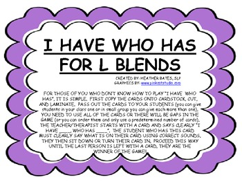 """""""I have, who has"""" for L Blends"""