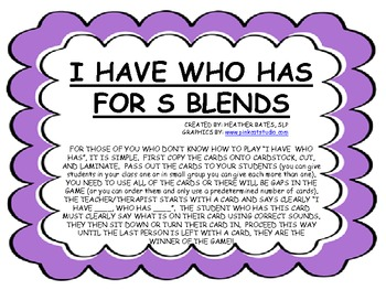 """""""I have, who has"""" for S Blends"""
