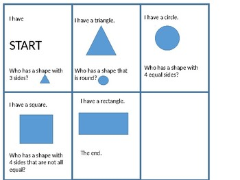 I have who has for shapes SUPER SIMPLE exit slip