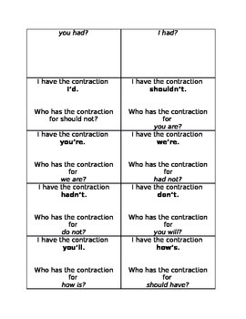 I have who has game for contractions (2nd game)