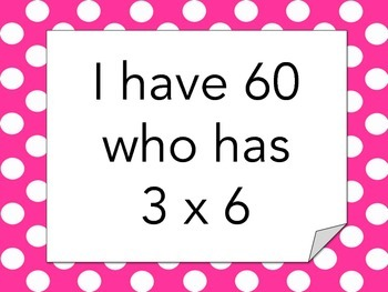 I have, who has? multiplication