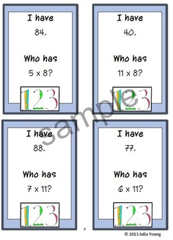 I have..... who has.... multiplication facts