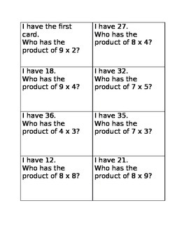 I have who has multiplication game four