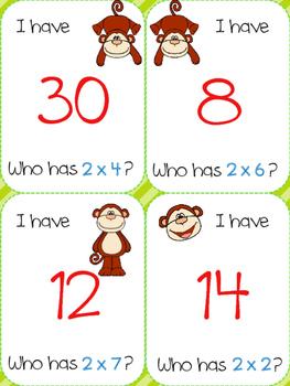 I have, who has multiplication game (monkey)