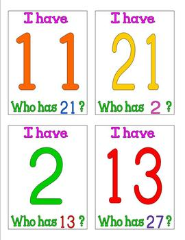 I have who has number cards 1 - 30 Group Game Number Recognition Pre K