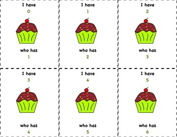 I have who has numbers 0-20 cupcake theme