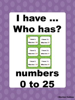 I have... Who has? numbers 0 to 25