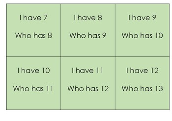 I have who has numbers 1-20
