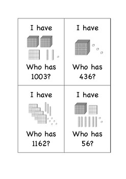 I have / who has - partitioning up to 4 digit numbers