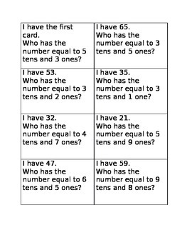 I have, who has place value game a