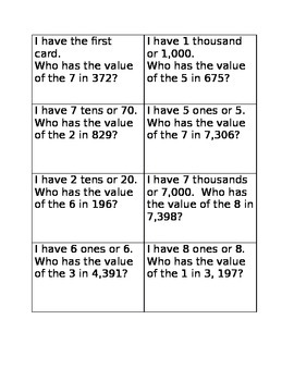 I have who has place value game one