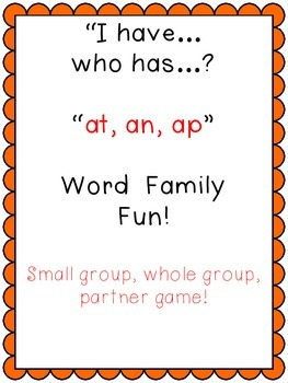 I have, who has short a, at, ap, an word family game